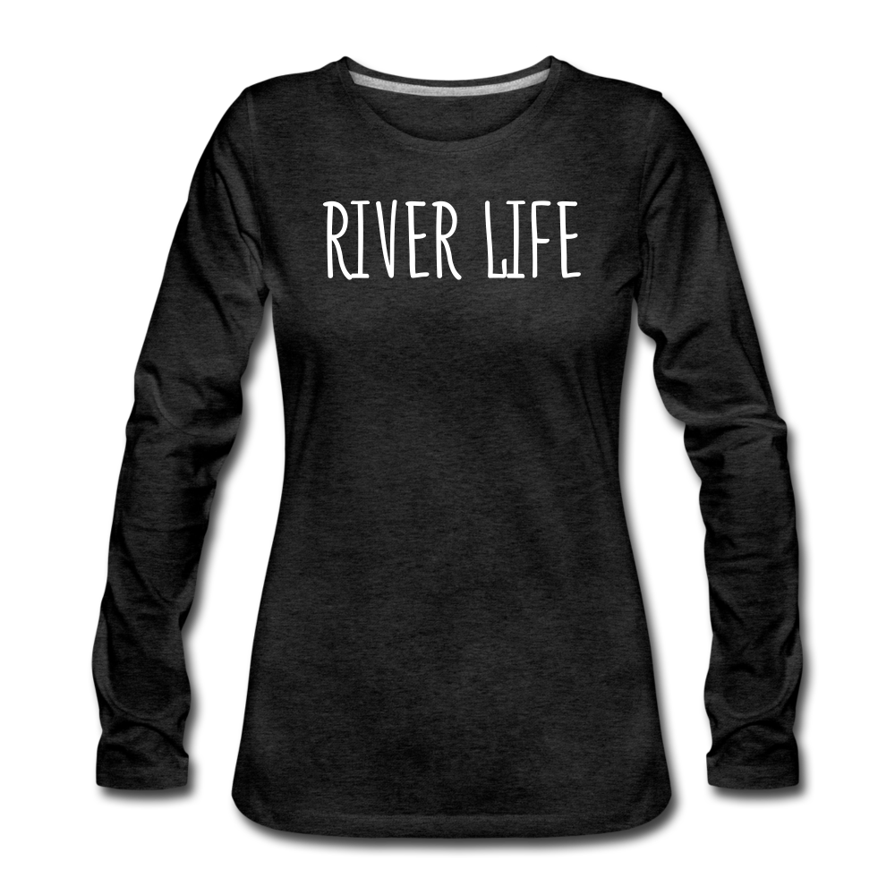 River Life-Women's Sleeve T - charcoal gray