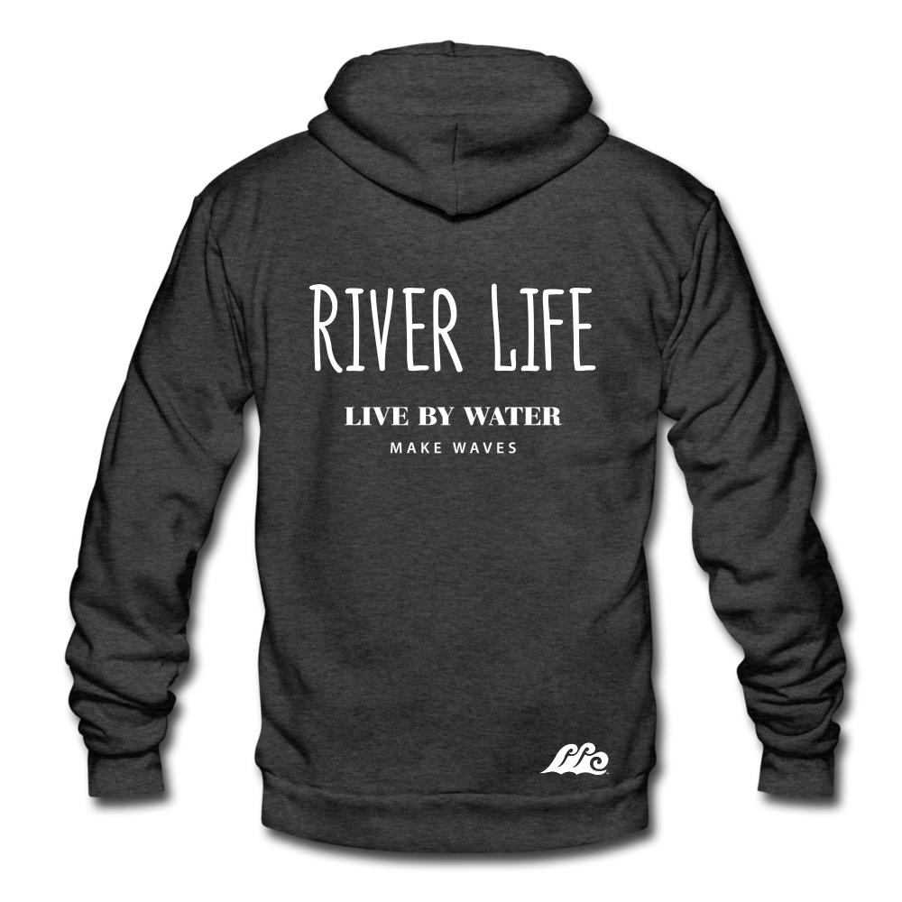 River Life-Unisex Sip-up Hoodie - charcoal gray