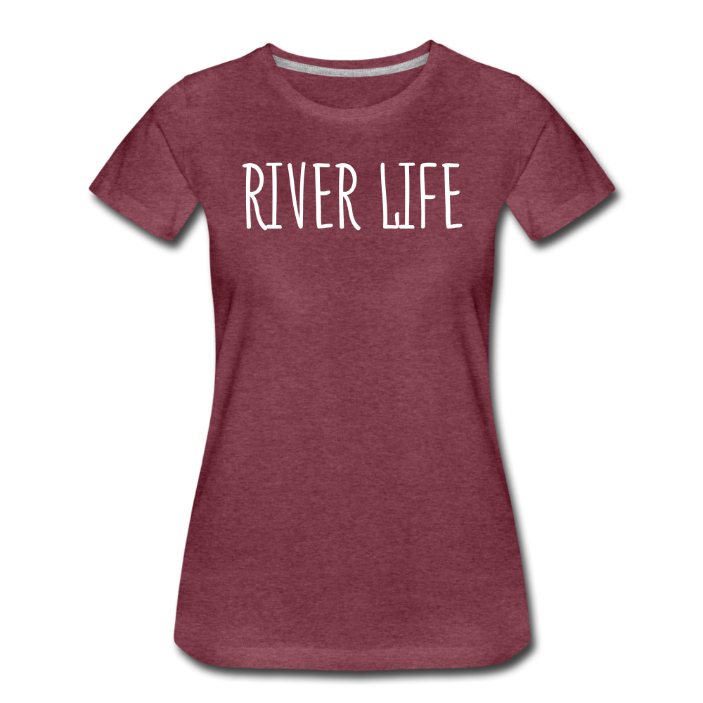 River Life-Women's 2-sided Crew Neck T - heather burgundy