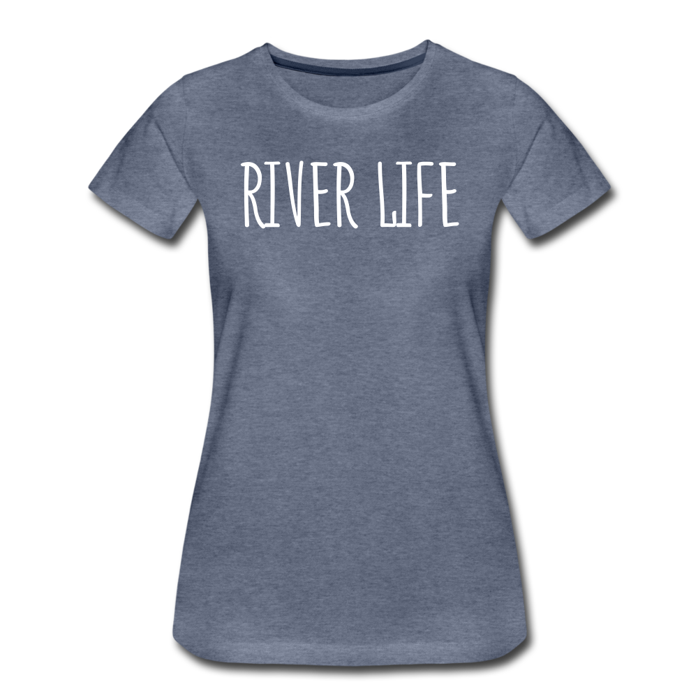 River Life-Women's 2-sided Crew Neck T - heather blue