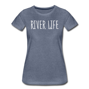 Open image in slideshow, River Life-Women's 2-sided Crew Neck T - heather blue