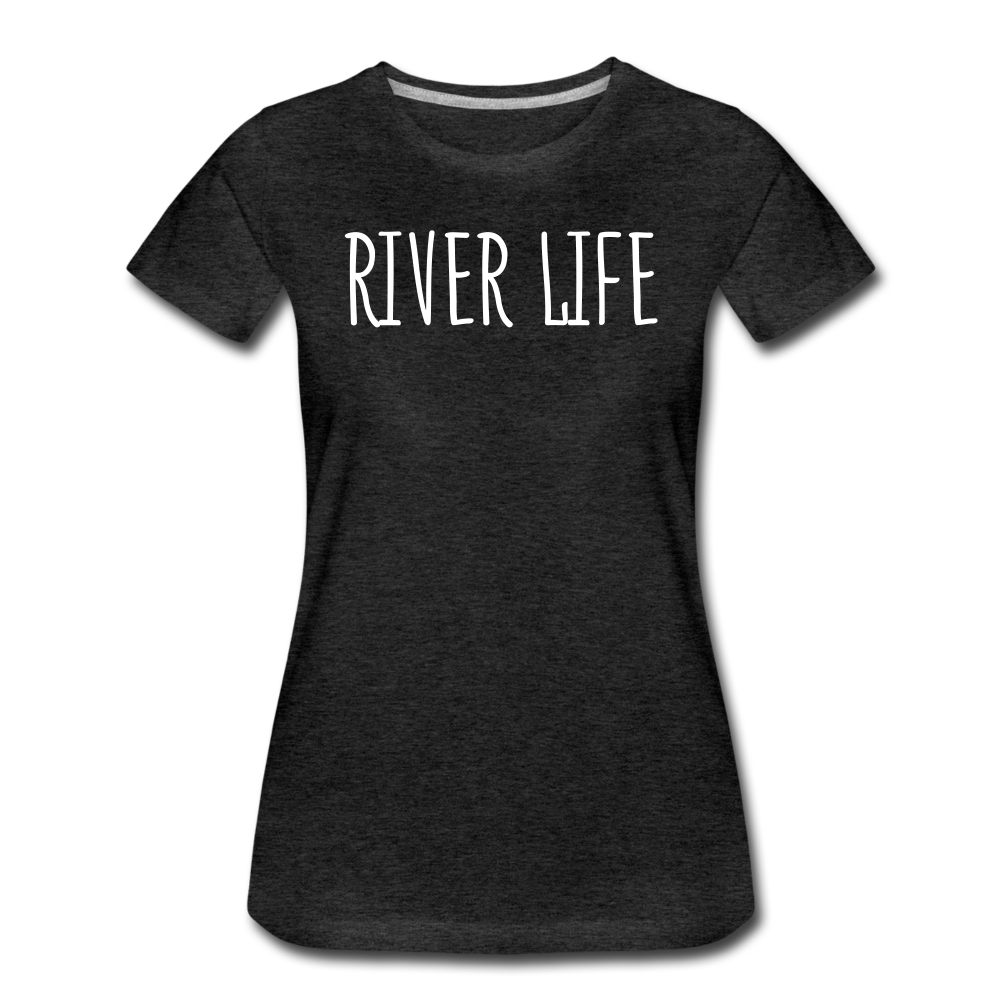 River Life-Women's 2-sided Crew Neck T - charcoal gray