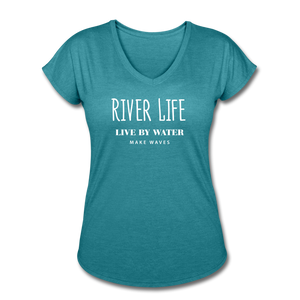 River Life-Women's V-neck T - heather turquoise
