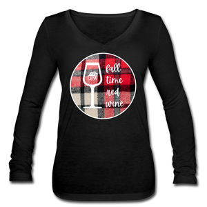 Red Wine LBW-Women's Long Sleeve  V-Neck Flowy T - black