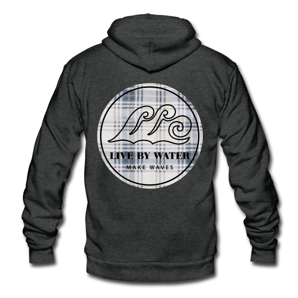 Vintage Blue Flannel Classic Logo-Unisex Zip Hoodie - charcoal gray