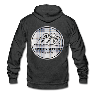 Open image in slideshow, Vintage Blue Flannel Classic Logo-Unisex Zip Hoodie - charcoal gray