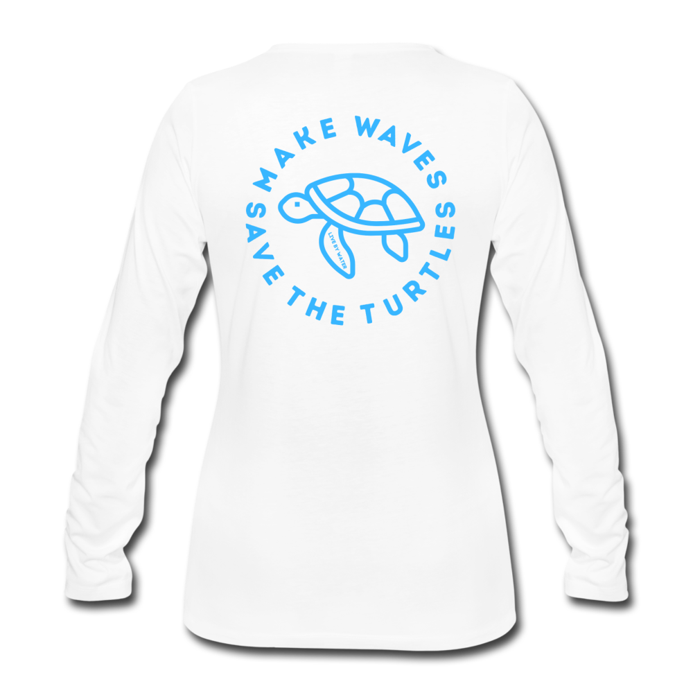 """The Kelsey"" Save the Turtles-Women's 2-sided Long Sleeve T - white"