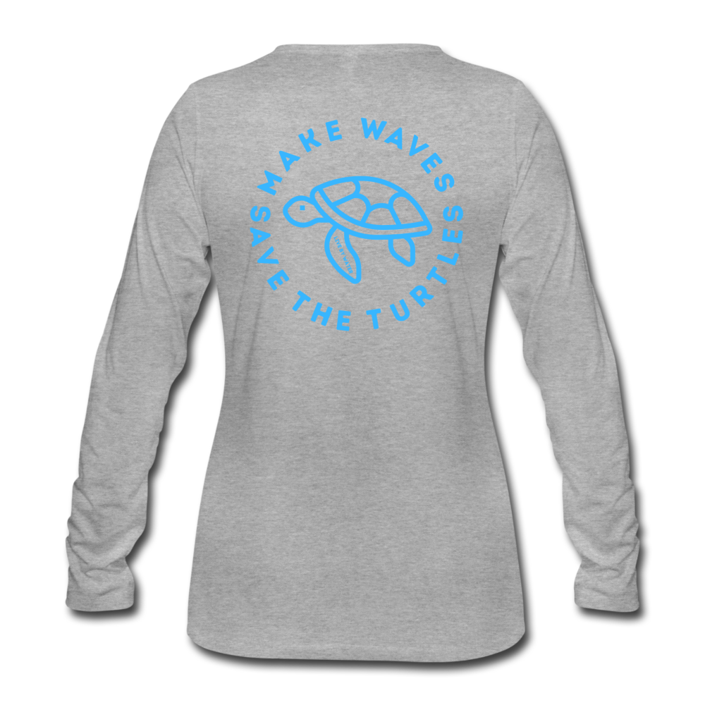 """The Kelsey"" Save the Turtles-Women's 2-sided Long Sleeve T - heather gray"