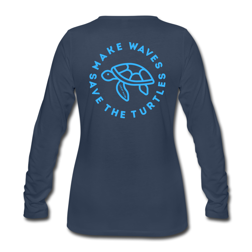 """The Kelsey"" Save the Turtles-Women's 2-sided Long Sleeve T - navy"