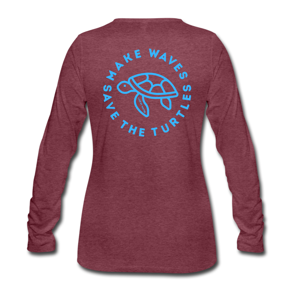 """The Kelsey"" Save the Turtles-Women's 2-sided Long Sleeve T - heather burgundy"