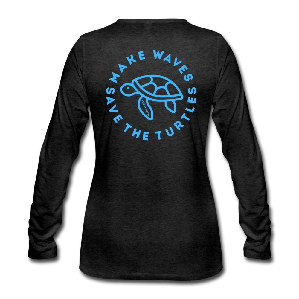 """The Kelsey"" Save the Turtles-Women's 2-sided Long Sleeve T - charcoal gray"