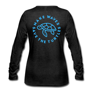 "Open image in slideshow, ""The Kelsey"" Save the Turtles-Women's 2-sided Long Sleeve T - charcoal gray"