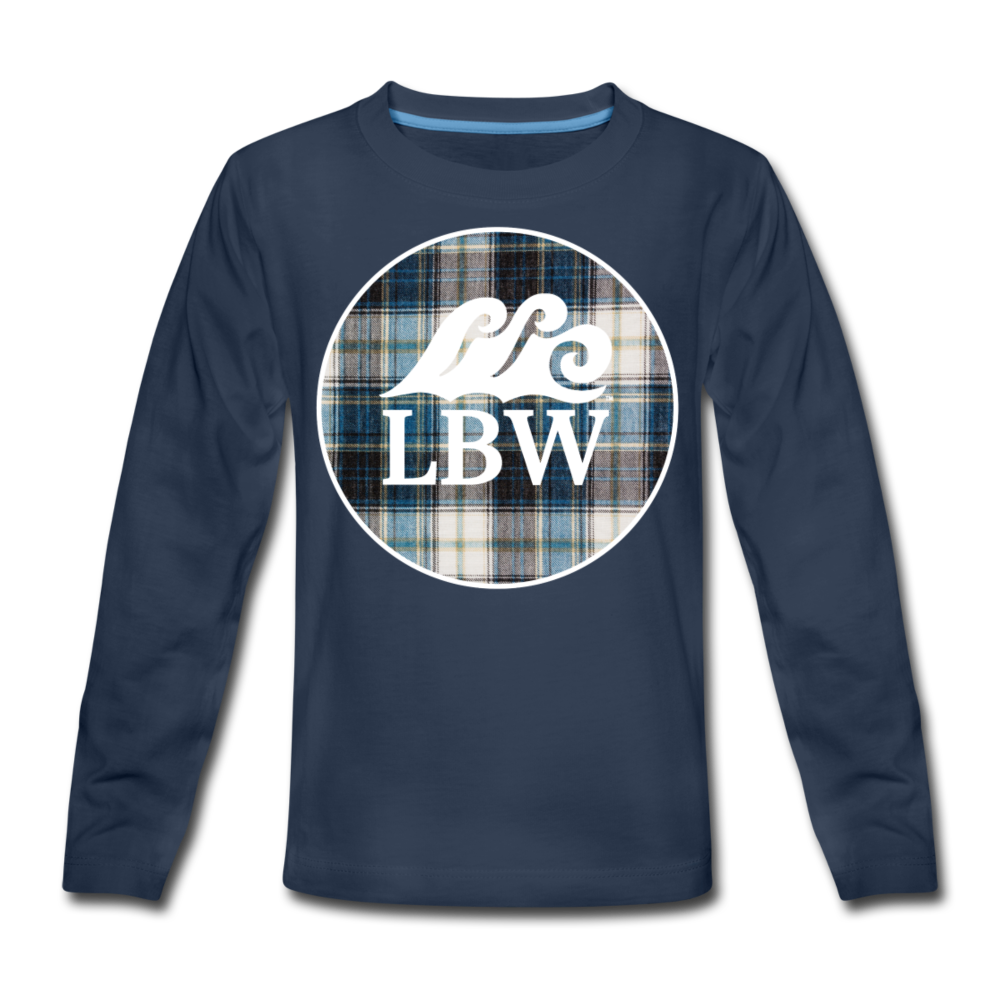 Teal Flannel-Kids' Long Sleeve T - navy
