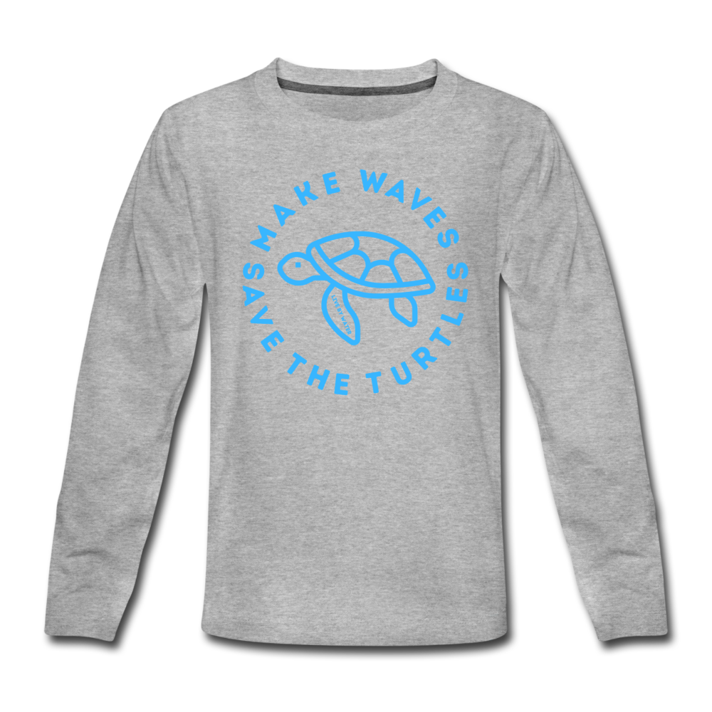 """The Kelsey"" Save the Turtles-Kids' long sleeve T - heather gray"