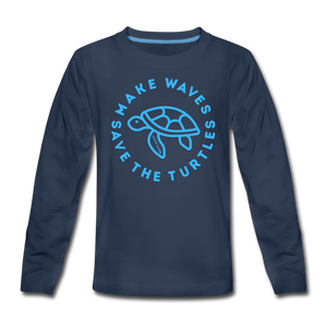 """The Kelsey"" Save the Turtles-Kids' long sleeve T - navy"