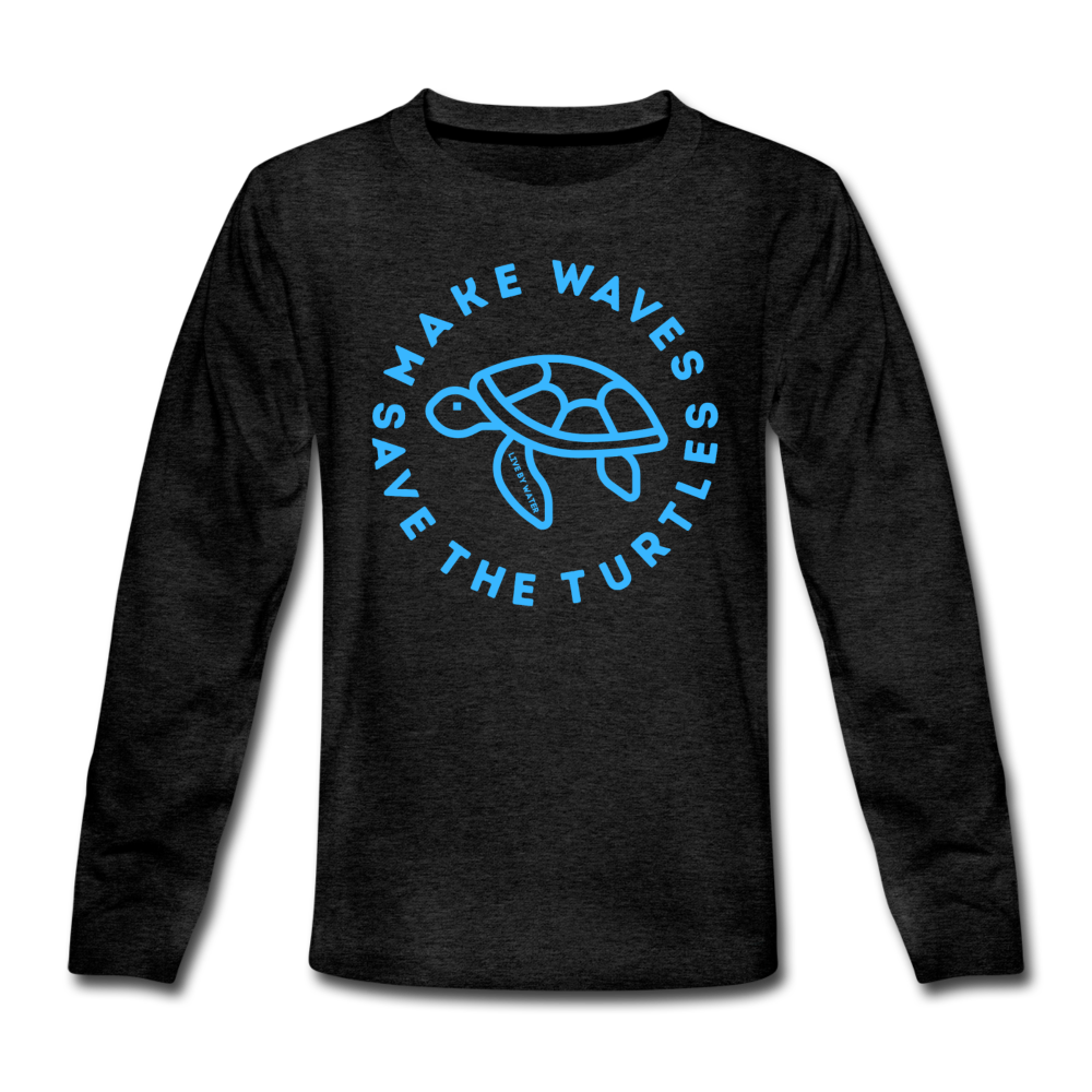 """The Kelsey"" Save the Turtles-Kids' long sleeve T - charcoal gray"