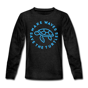 "Open image in slideshow, ""The Kelsey"" Save the Turtles-Kids' long sleeve T - charcoal gray"