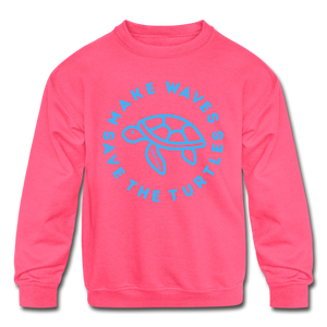 """The Kelsey"" Save the Turtles-Kids' Crewneck Sweatshirt - neon pink"