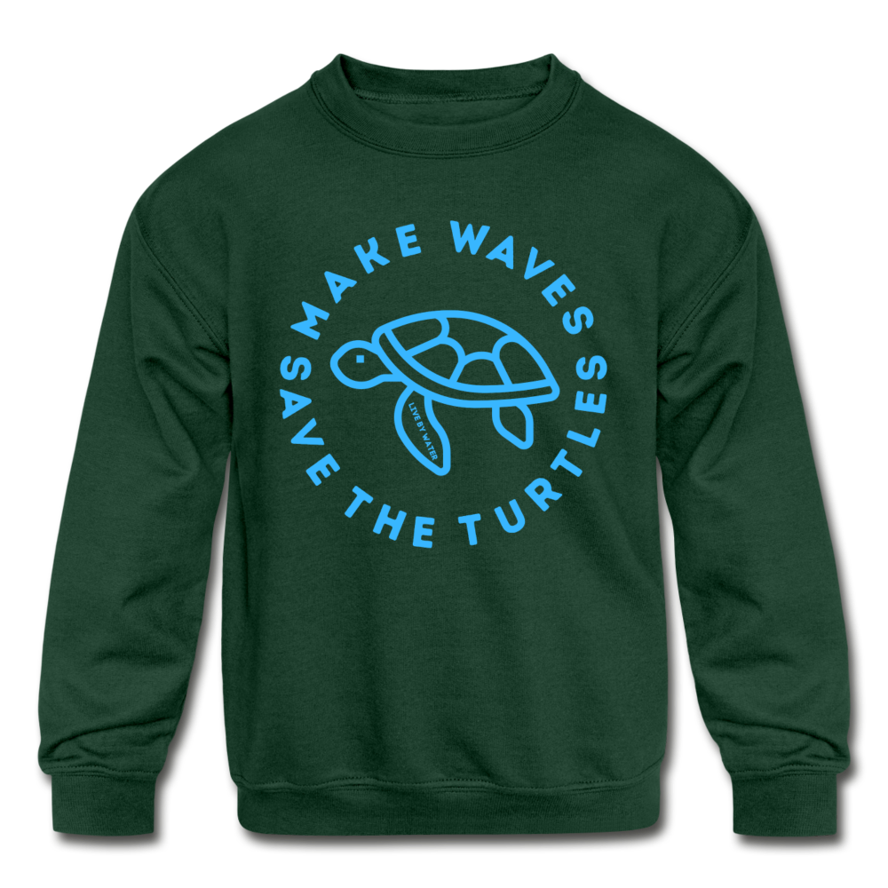 """The Kelsey"" Save the Turtles-Kids' Crewneck Sweatshirt - forest green"