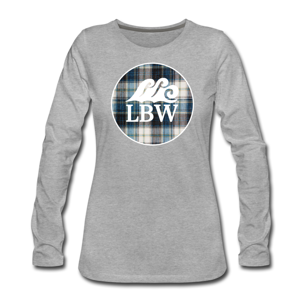 Teal Flannel & LBW Wave Logo-Women's  Long Sleeve T-Shirt - heather gray