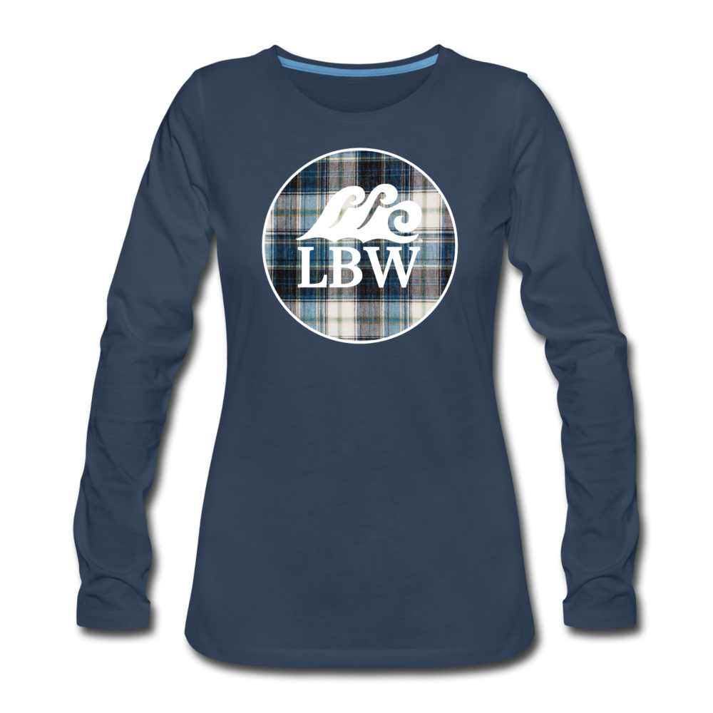 Teal Flannel & LBW Wave Logo-Women's  Long Sleeve T-Shirt - navy