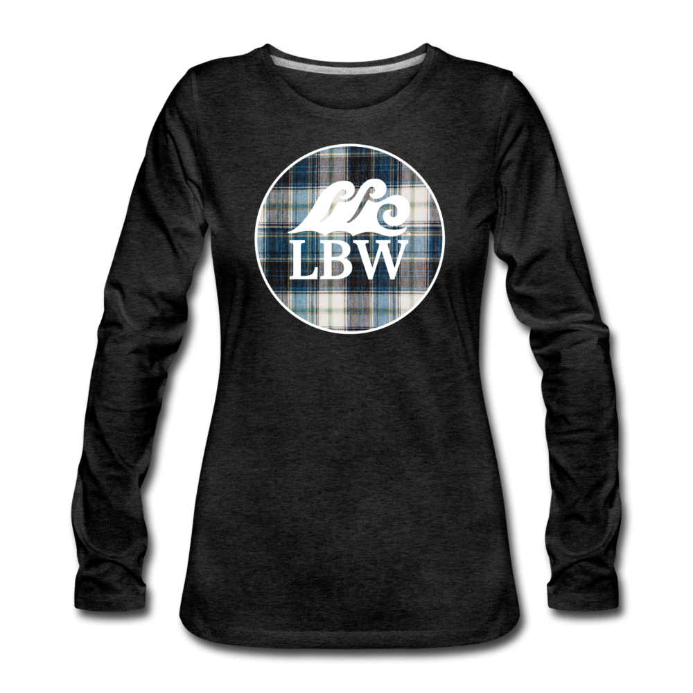 Teal Flannel & LBW Wave Logo-Women's  Long Sleeve T-Shirt - charcoal gray