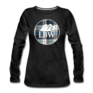 Open image in slideshow, Teal Flannel & LBW Wave Logo-Women's  Long Sleeve T-Shirt - charcoal gray