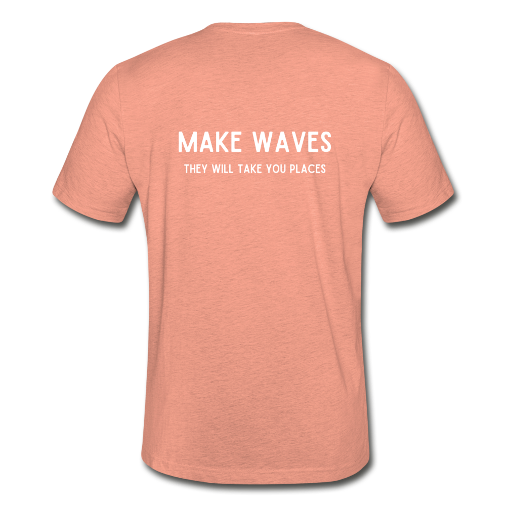 Make Waves they will take you places-Unisex T - heather prism sunset