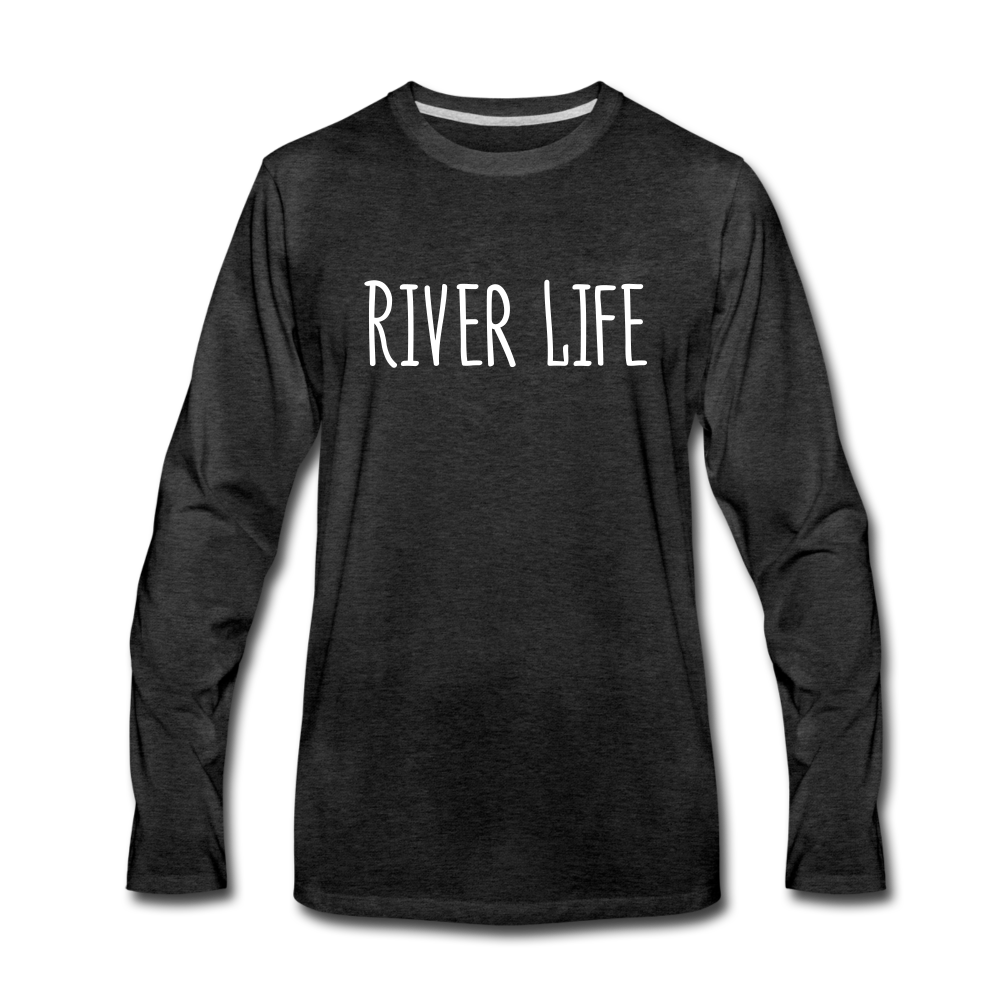 River Life-Men's 2-sided Long Sleeve T-Shirt - charcoal gray