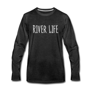 Open image in slideshow, River Life-Men's 2-sided Long Sleeve T-Shirt - charcoal gray