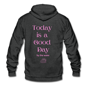 Good Day-Unisex Zip-up Hoodie - charcoal gray