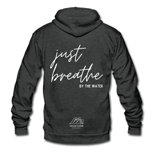 Just Breathe by the Water-Unisex Zip-up - charcoal gray