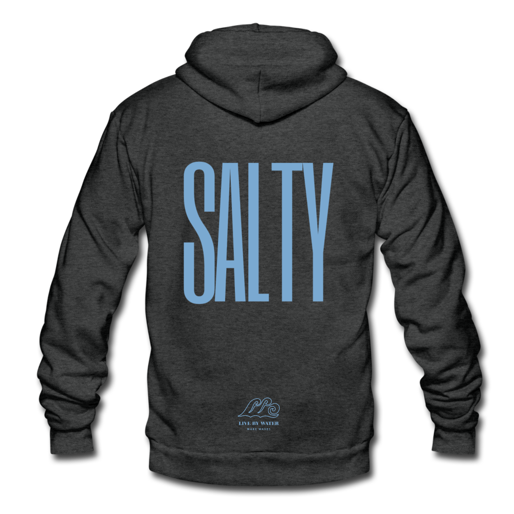 Salty /Blue-Unisex Zip Hoodie - charcoal gray