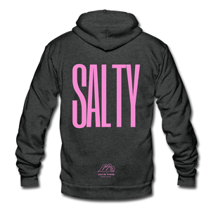 Salty/ Pink-Unisex  Zip-up Hoodie - charcoal gray