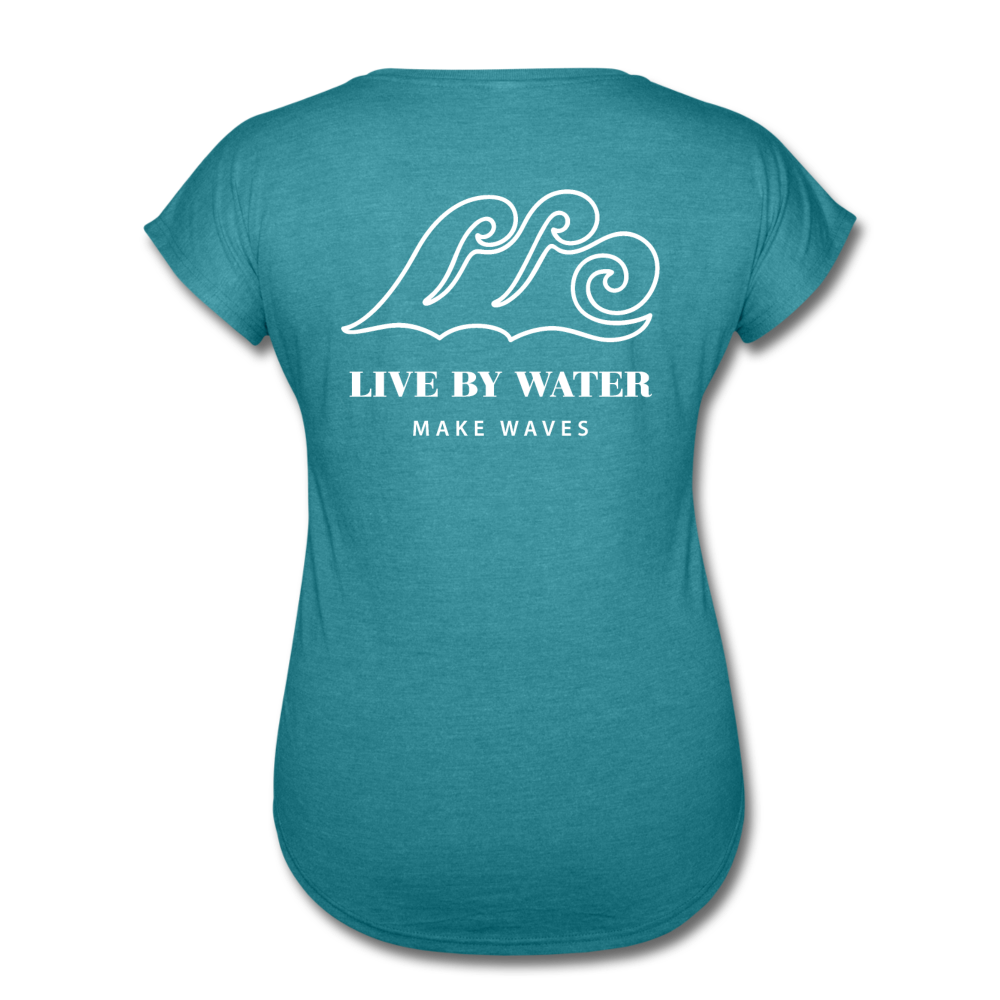 Salty/White-Women's 2-sided V-neck T - heather turquoise