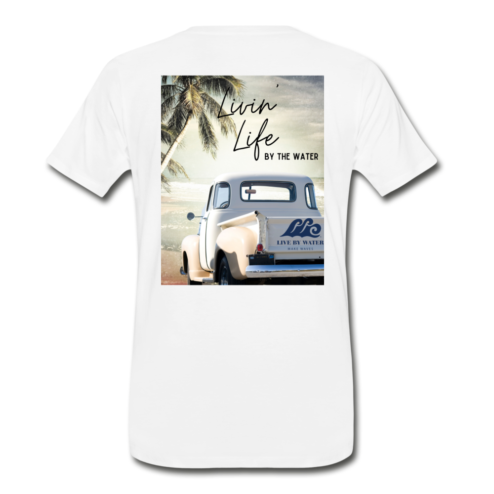 Livin' Life by the Water Vintage Truck-Unisex 2-sided T - white