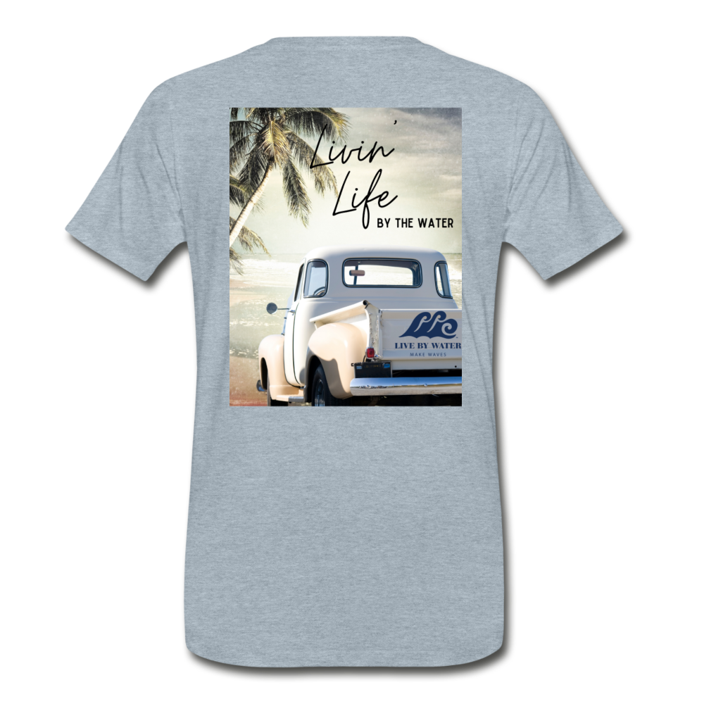 Livin' Life by the Water Vintage Truck-Unisex 2-sided T - heather ice blue