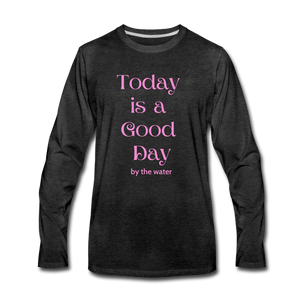Open image in slideshow, Good Day-Unisex Long Sleeve 2-sided T - charcoal gray