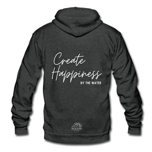 Create Happiness by the Water-Unisex Zip-up - charcoal gray