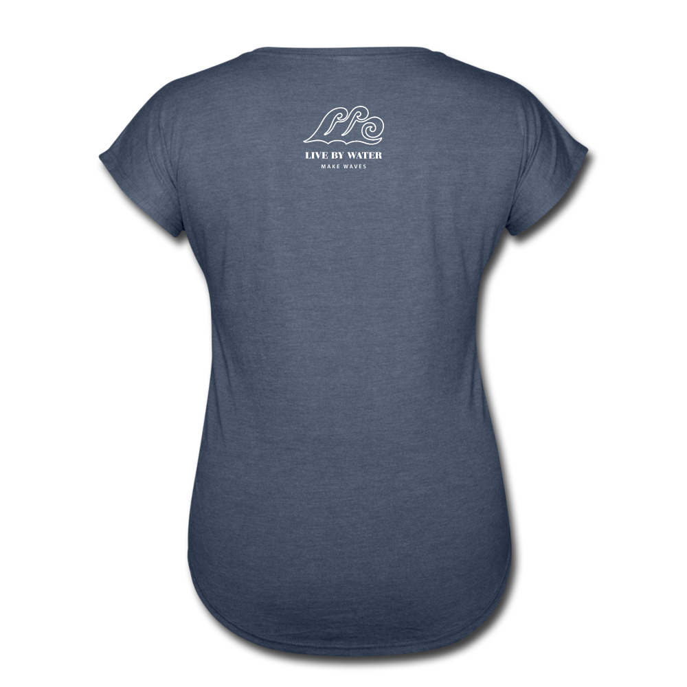 Just Breathe-Women's 2-sided V-Neck T - navy heather
