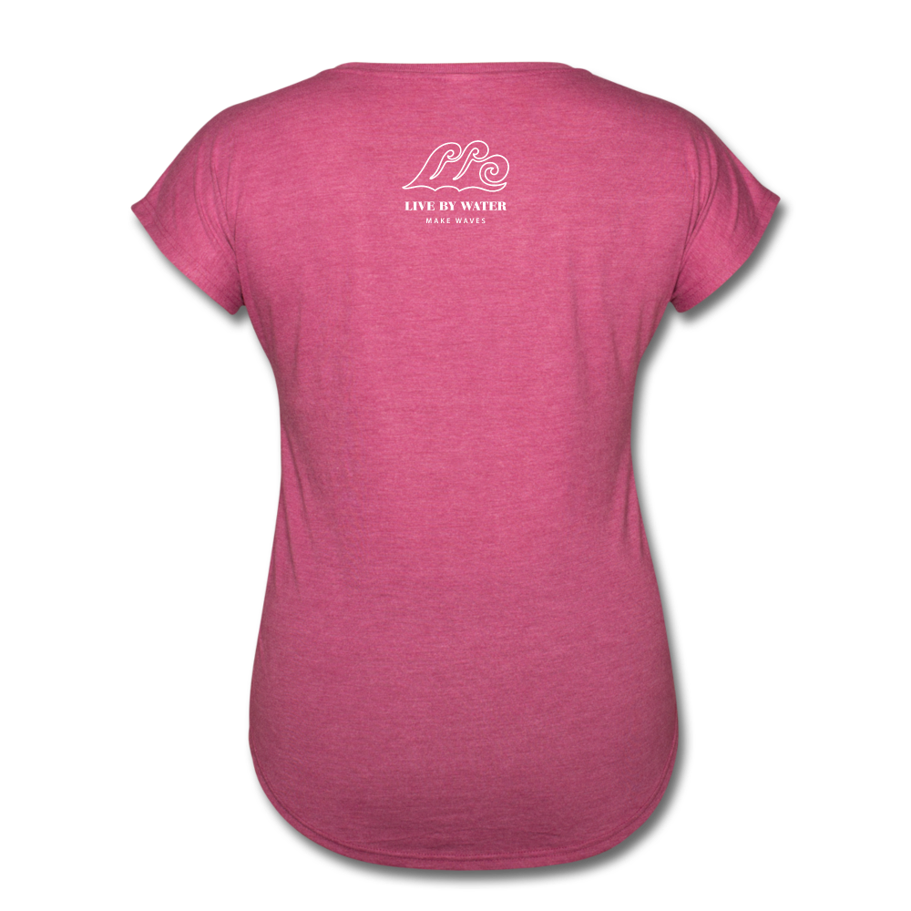 Just Breathe-Women's 2-sided V-Neck T - heather raspberry