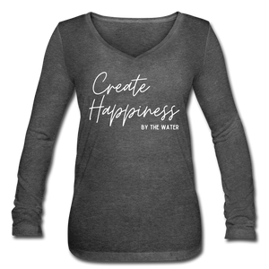 Create Happiness by the Water-Women's Long Sleeve  V-Neck T - deep heather