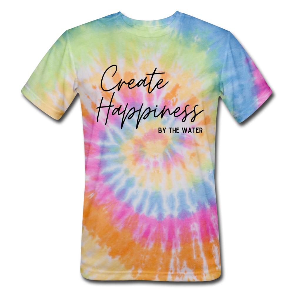 Create Happiness-Unisex Tie Dye T - rainbow