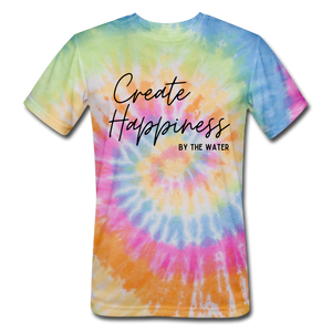 Open image in slideshow, Create Happiness-Unisex Tie Dye T - rainbow