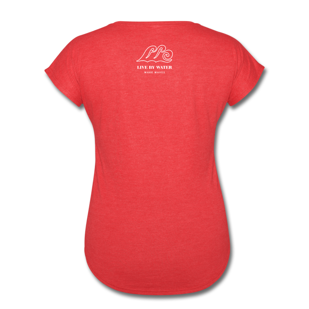Livin Life by the Water-Women's 2-sided  V-Neck T-Shirt - heather red
