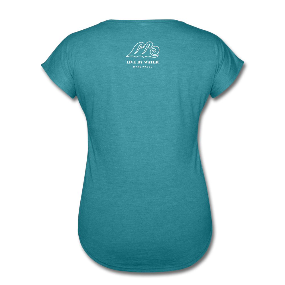 Livin Life by the Water-Women's 2-sided  V-Neck T-Shirt - heather turquoise