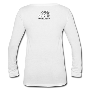 Livin LIfe by the Water-Women's 2-sided V-neck Long Sleeve T - white