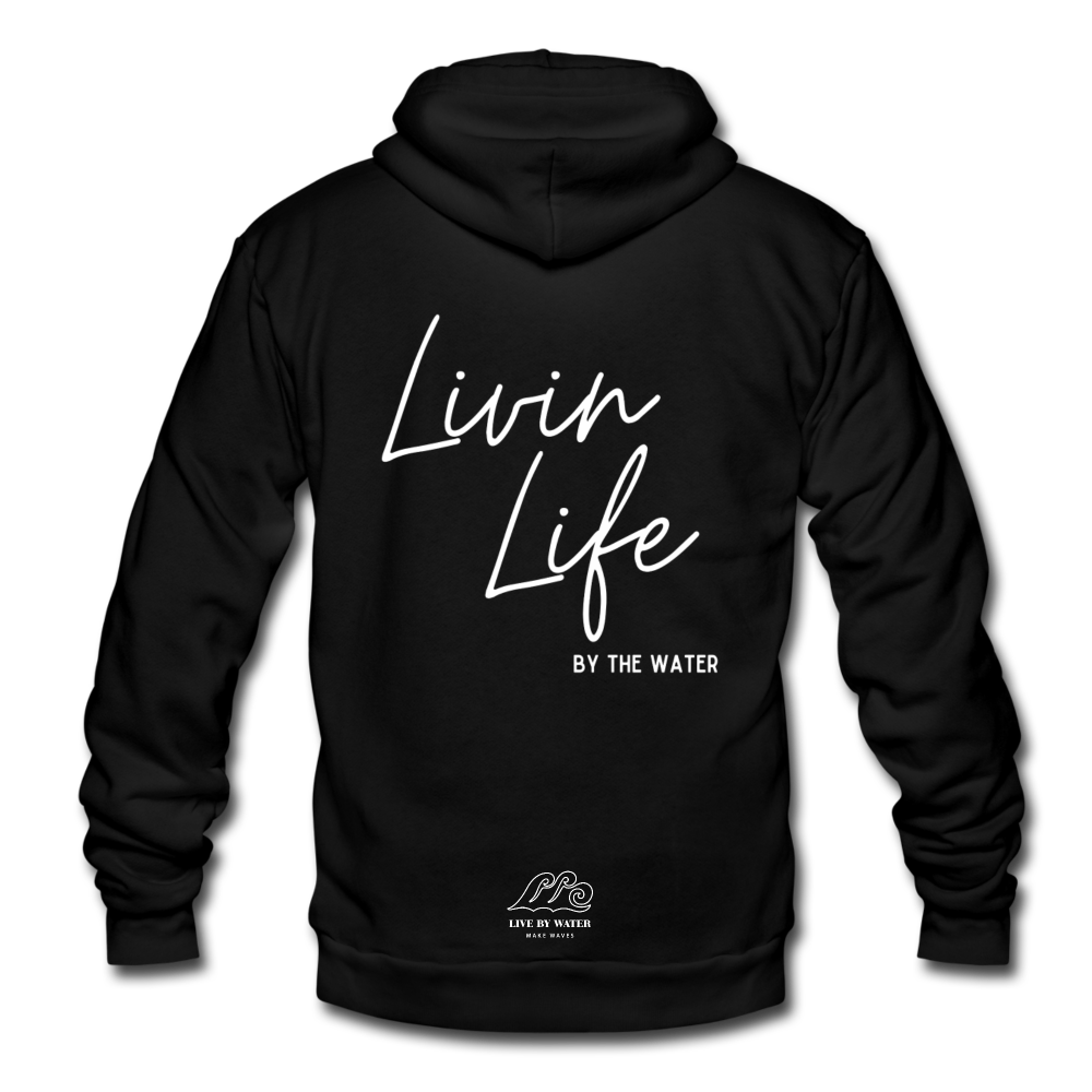 Livin Life by the Water-Unisex 2-sided Zip Hoodie - black