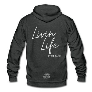 Livin Life by the Water-Unisex 2-sided Zip Hoodie - charcoal gray