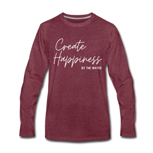 Create Happiness by the Water-Unisex 2-sided Long Sleeve T - heather burgundy